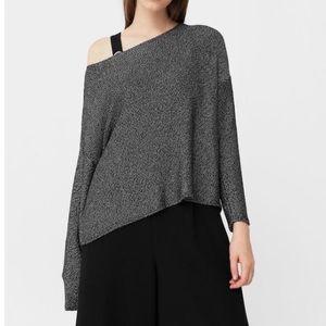 Mango metallic fine knit off the shoulder sweater